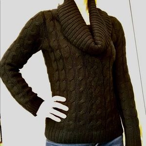 Black Cowl Neck, Cable Knit Sweater